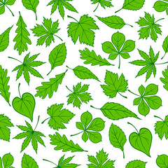 Green tree leaves seamless pattern