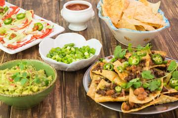 Mexican food. Nachos, quesadillas, guacamolle, tortilla chips.