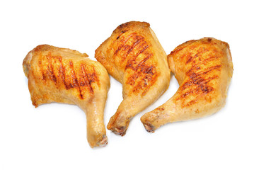 Grilled chicken thighs isolated on white background