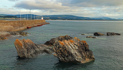 Wicklow Ireland North Harbor Breakwater Wall and Lighthouse