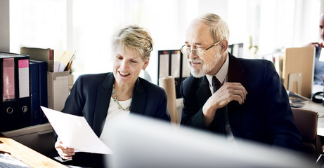 Senior Adult Business People Discussion Marketing Plan Concept