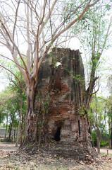 Ruins of ancient building at Ayutthaya historical park