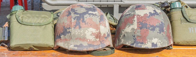 Helmet military and Military flask