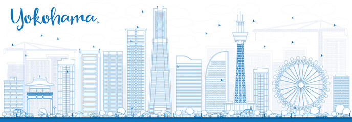 Outline Yokohama Skyline with Blue Buildings.