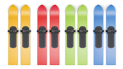 Set of colored skis on a white background. 3d rendering.