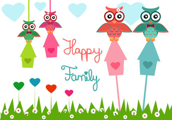 Illustration of an owl family with happy family text.