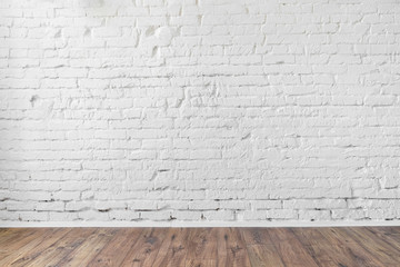 Photo sur Aluminium Brick wall white brick wall texture background wooden floor loft