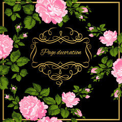 Luxurious vintage card of pink roses with gold calligraphy. Vector illustration.