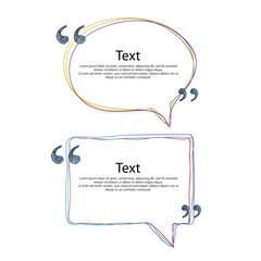 Colorful quote bubble frame templates set illustration.