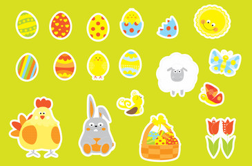 Easter decoration cartoon elements set