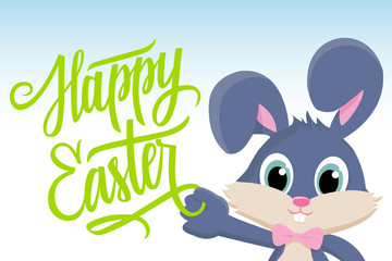 Cute easter bunny with Happy Easter greetings. Happy Easter greeting card. Handwritten inscription Happy Easter. Happy Easter lettering. Happy Easter symbol. Vector illustration.