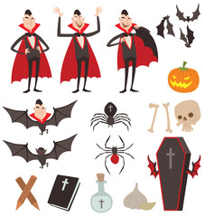 Cartoon Dracula vector symbols icons