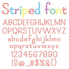 Spriped  font. Alphabet, numbers, punctuation marks. One letter, one compound path. Easy to change colors for your design.