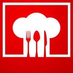 Icono plano gorro de cocinero sobre fondo degradado #3