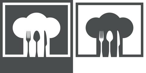 Icono plano gorro de cocinero y cubiertos #3