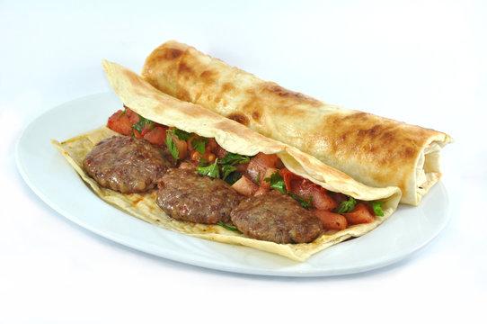 Meatball Sub Sandwich tortilla turkish durum on white background.