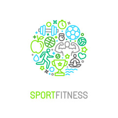 Vector linear sport and fitness logo design template