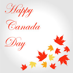 Happy Canada Day card with maple leaves