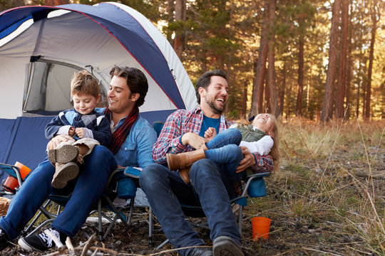 Gay Male Couple With Children On Camping Trip