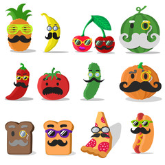 Vector food with mustache. Food icons isolated. Set of vector food on white background