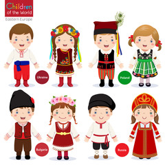 Kids in different traditional costumes (Ukraine, Poland, Bulgari