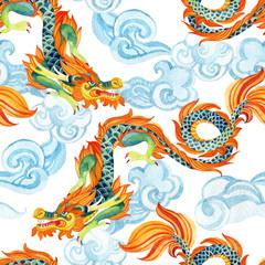 Chinese Dragon seamless pattern. Asian dragon illustration