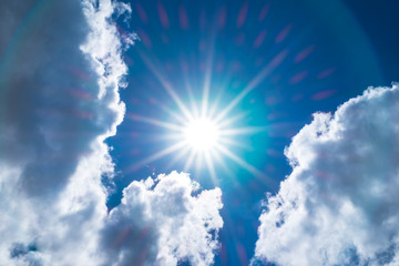 Looking up at Nice blue sky with sun beam and halo with cloudy