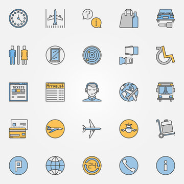 Colorful air travel or airport icons