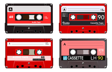 Collection of four plastic audio cassettes tape. Different colorful music tapes. Red set. old technology, realistic retro design, vector art image illustration, isolated on white background eps10