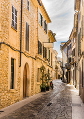Wall Mural - View of an mediterranean old town narrow street