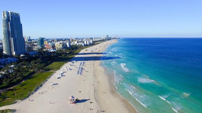 South Pointe, Miami. Aerial view of Miami Beach