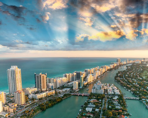 Wall Mural - Wonderful skyline of Miami at sunset, aerial view