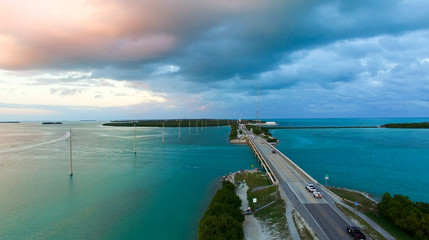 Aerial view of Keys bridge, Florida