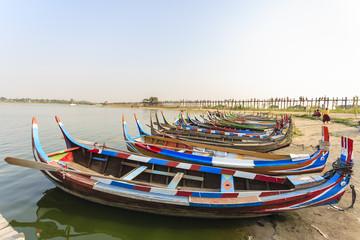 Boat on lake in Burma