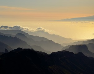 Silhouettes of mountains at sunset, Canary islands