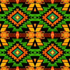 Seamless low poly boho pattern