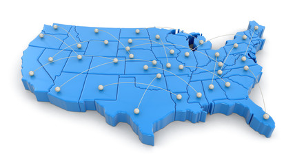Map of USA with flight paths. Image with clipping path.