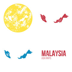 Malaysia Grunge Retro Maps - Asia