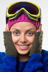 Young woman with ski goggles