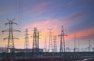 power transmission background at city suburb