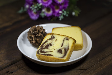 Butter cake, marble butter cake - selective focus