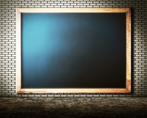 Empty blackboard on brick Wall with grunge cement floor for abst