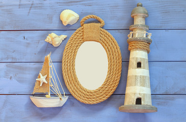 top view nautical concept with nautical life style objects. vintage filtered