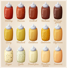 Sauces set. Ketchup, mustard, harissa, cocktail, barbecue, curry, andalouse, pepper, garlic. Vector icons