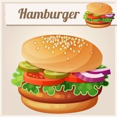 Hamburger. Cartoon vector icon