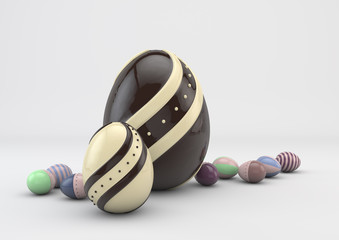 Easter colored chocolate eggs