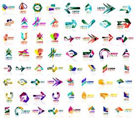 Mega set of paper logo abstract geometrical shapes