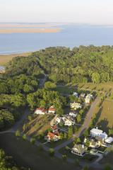 aerial view of coastal neighborhood in south carolina