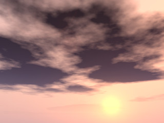 Sunset or sunrise background with clouds and sun