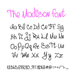 Handwritten calligraphy font letters, numbers, alphabet